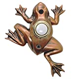 Waterwood Bronze Plated Frog Doorbell - Wired & Illuminated Push Button Cast in Durable Polyresin