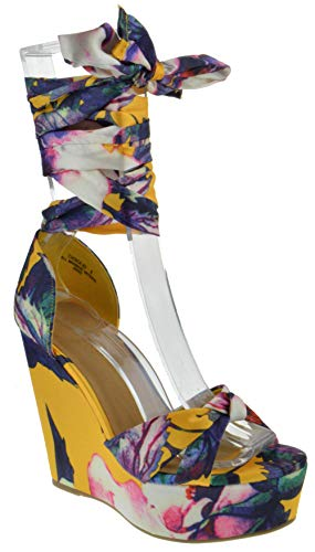 BAMBOO Choice 63 Womens Fabric Lace Wrap Platform Wedge Dress Sandals Marigold 10