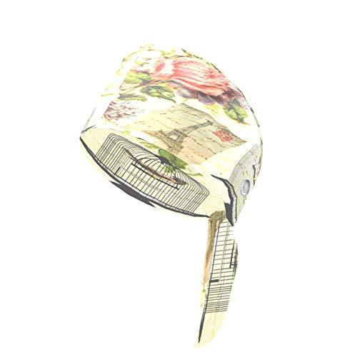 Gorra de trabajo para mujer con botón y banda para el sudor, sombreros bouffant, fundas para la cabeza estampadas, ajustables, para adultos, diseño vintage de jaulas de pájaros