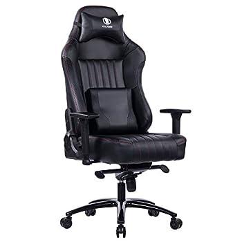 KILLABEE Memory Foam Gaming Chair Adjustable Tilt Angle and 3D Armrest Ergonomic High-Back Leather Racing Executive Computer Desk Office Metal Base  Black