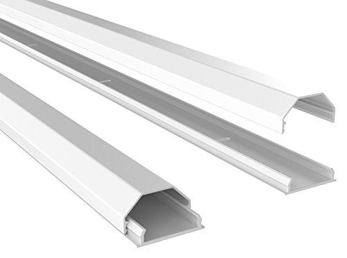 RICOO Z0100-W, Kabelkanal, Weiß, Länge 110 cm, Alu, Kabelklemme, Kabelschlauch, Kabelbox, Kabelführung, Kabel-Management für Fussboden und Wand