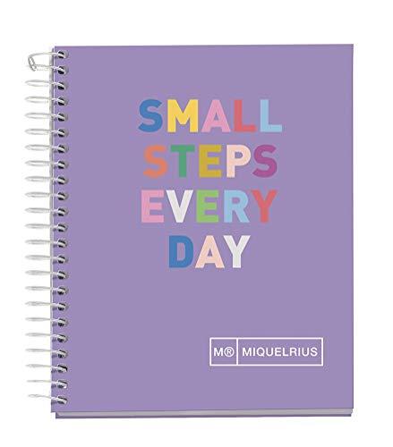 MIQUELRIUS - Cuaderno Libreta Notebook - Tapa Dura Cartón Forrado, A7, 4 Franjas de Colores, 100 Hojas Cuadriculadas de 70 Gramos, Sin Taladros, Diseño Hello