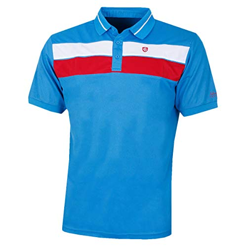 Island Green Golf Mens Ribbed Breathable Moisture Wicking Flexible Polo Shirt Haut Homme, Sky Azure/Adrenaline Rouge/Blanc, m