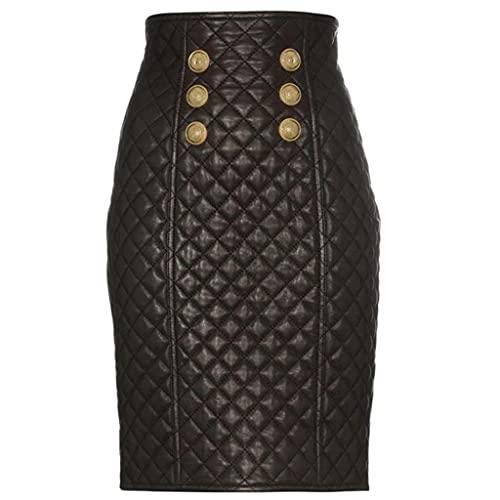 DIAOD Falda cruzada con botones de metal de estilo otoño e invierno de cuero con doble botonadura en forma de diamante (Color : Black, Size : S code)