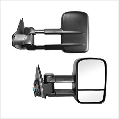 Perfit Zone Towing Mirrors Replacement Fit for 1999-2007 Ford F-250 F-350 F-450 F-550 SUPER DUTY,POWER HEATED,W//SMOKE SIGNAL,BLACK PAIR SET