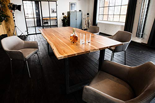 Kasper-Wohndesign massiv mit Baumkante (180, Fuß schwarz) Esstisch, Holz, braun, 180 x 90 x 77 cm