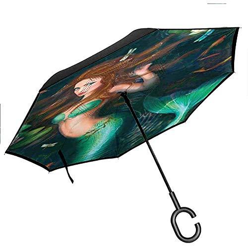 Sirène Decor Coupe-Vent Parapluie Fantaisie sirène dans Le lac avec des Fleurs de Lys Plantes Magiques Grandes Feuilles,