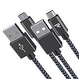 RAMPOW Cavo Micro USB【2M - 2Pezzi】 Trasferimento Dati e Ricarica Rapida, Cavo USB Micro USB Compatibile per Samsung A10/S7/S6, Huawei P8 Lite 2017, Xiaomi, Kindle, Nylon Intrecciato-Grigio Siderale