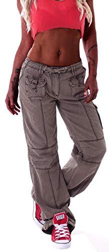 Damen Cargohose Stoffhose Cargo Hose Hüfthose Jeans Cargojeans Taschen Baggy Worker Arbeitshose Khaki XS 34 gr größe size arbeiterhose hüfthose stoffhose cargohosen lässige boyfriend jeans hosen