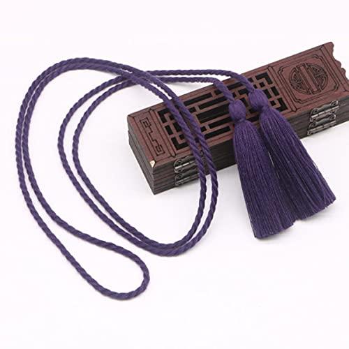 2 Piezas de Doble Extremo Largo 134 cm Tieback borlas Flecos Manualidades de Bricolaje joyería Cortina Prendas de Vestir decoración cordón de Seda Cinta de Cuerda borlas Colgante-púrpura Verde