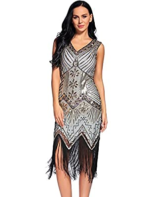 NeeMee Women's 1920s Gastby Sequin Embellished Fringed Flapper Dress