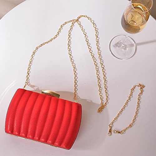 JINGXU Women's Evening Dress Bag, Pleated Leather Texture Material,Red