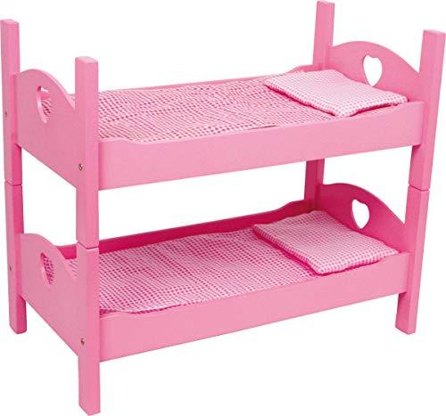 small foot 2871 enkele stapelbed roze van hout met bijpassend ruitenbeddengoed en matrassen