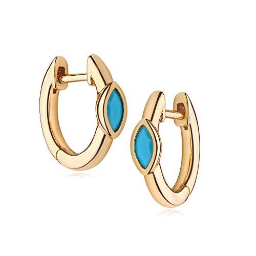 MYEARS Women Gold Huggie Hoop Earrings Ear Stud Cuff Turquoise Diamond CZ Inlay Eye Half Sleeper 14K Gold Filled Small Boho Simple Delicate Handmade Hypoallergenic Jewelry Gift