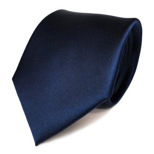 TigerTie Designer Satin Krawatte in blau dunkelblau saphirblau marine einfarbig uni