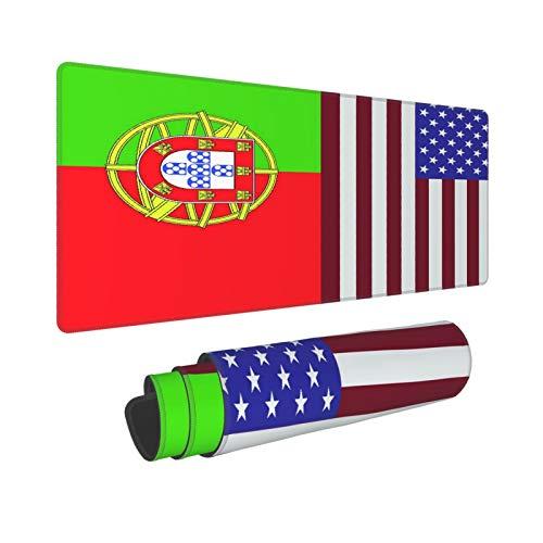 PATINISA Alfombrilla Raton Bandera De Portugal Y Estados Unidos Alfombrilla Gaming Alfombrilla para computadora con Base de Goma Antideslizante,80×30×0.3cm