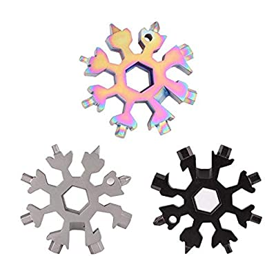 3 Pack 18-in-1 Snowflake Stainless Steel Multi Tool, Portable and Durable Screwdriver Compact Snowflakes Multitool for Bottle Opener/Outdoor Camping/Keychain, Perfect Christmas Gift.