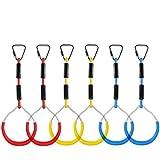 knowledgi 6 STÜCKE Seilringe Turnringe Mit Seil-Hinterhof Outdoor Gymnastikring Ninja Hindernisparcours Kit Für Klettergerüste Und Garten Schaukeln (6pcs)