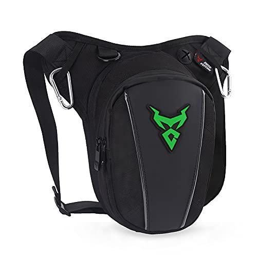 Eshow Beintasche Motorrad Hüfttasche Oberschenkeltasche wasserdicht für Damen und Herren zum Outdoorsport Radfahrren Wandern schwarz (grün-709)