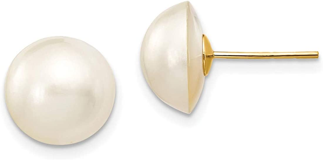 White Cultured Mabe Pearl Post Earrings in Real 14k Yellow Gold