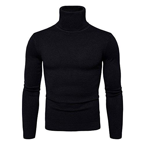 Juleya Herren Strickpullover Hoher Kragen Sweatshirt Männer Basic Langarm Sweatshirt Feinstrick Pulli Mode Lässig Tägliche Outwear Warme Pullover
