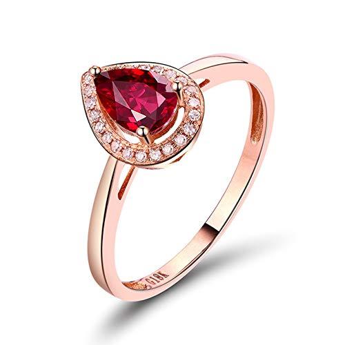 AnazoZ Anillos Mujer Plata Rubi,Anillos de Oro Rosa Mujer 18K Oro Rosa y Rojo Gota de Agua Rubí Rojo 0.7ct Diamante 0.07ct Talla 15