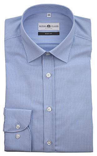 Royal Class Herren Hemd Langarm Businesshemd Blau Hellblau gestreift Bügelleicht Body Fit (38)