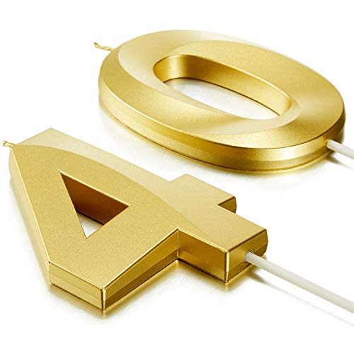 2 Pieces 40th Birthday Candles Numeral Candles 3D Diamond Shape Number 40 Candles Cake Topper for Reunions Theme Party Anniversary Birthday Party Supplies (Gold)