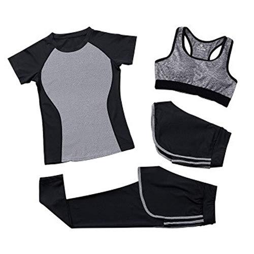 Traje deportivo de cuatro piezas para mujer, sin costuras, de manga larga, pantalones de yoga, fitness, gimnasio, cultivos con agujero para el pulgar