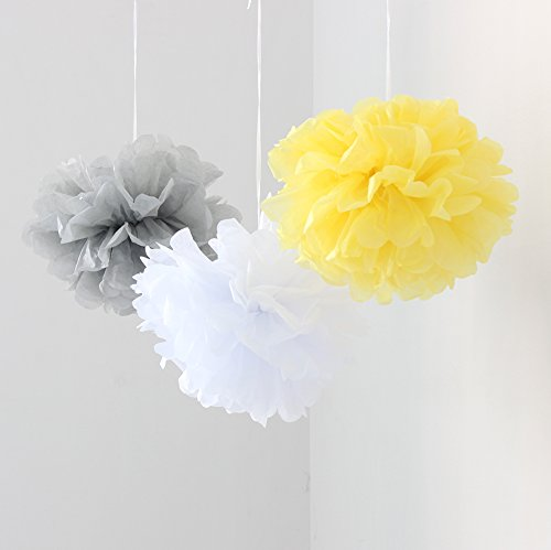 Blanc/Gris/Jaune-Pack Papier de soie fleur pompons pompons pour anniversaires de mariage/de Noël pour Décoration Maison Salle Chambre