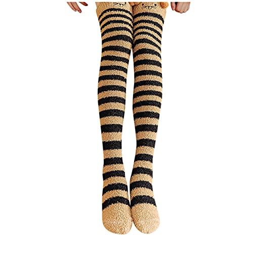 JDGY Medias por encima de la rodilla para mujer, con forro de coral, de rayas, medias altas para el suelo, de felpa, de algodón, medias de compresión, marrón, Talla única