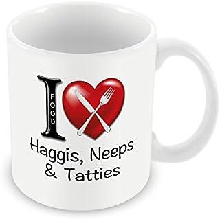 """Chalkhill Printing Company CP 396 - Taza de desayuno, diseño con texto""""I Love Haggis, Neeps & Tatties"""""""