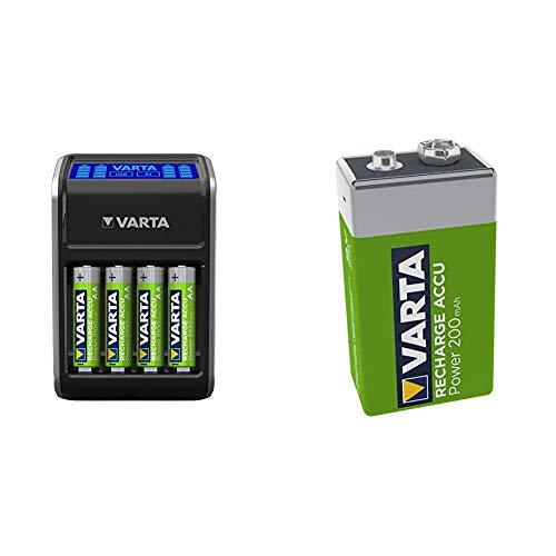 VARTA Cargador de enchufe con LCD para pilas AA/AAA/9V y dispositivos USB (incl. 4 AA 2100 mAh), negro + 56722101401 Pila Recargable, 200 mAh, Verde, Pack de 1