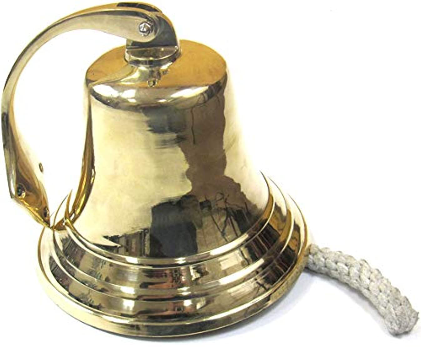 Solid Brass Wall Hanging Ship Bell with Rope Polished Dinner Bell Tip Bell Indoor/Outdoor Nautical Decoration Bells Variety with Mounting Hardware Bracket Ship Boat Maritime Decor