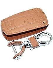 SELIYA Lederen Autosleutel Case, Fit Voor BMW E90 E60 E70 E87 1 3 5 6 Serie M3 M5 X1 X5 X6 Z4 Sleutelhanger Protector Cover Auto Accessoire, EEN Bruin