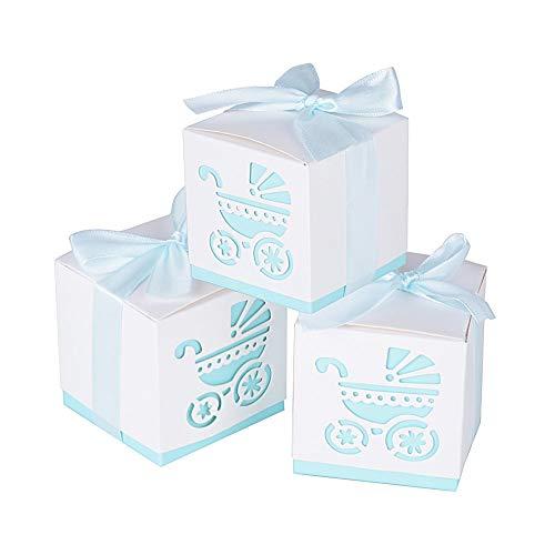 50 Piezas Caja Bombones Regalo pequeña Bautizo para Niño, Exquisito Caja Caramelos con patrón ' Coche de bebé ' y 'cintas elegantes' - 【 6 * 6 * 6cm 】 Baby Shower Decoración de Escritorio