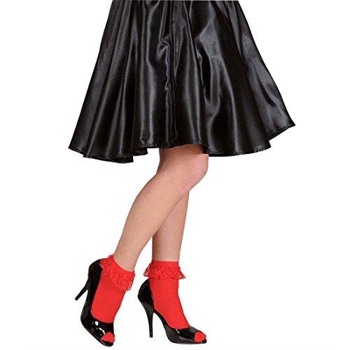 NET TOYS Süße Rote Rockabilly Rüschensocken Spitze Söckchen Vintage Knöchelsocken Garde Rüschen Socken Retro Strümpfe 50er 60er Jahre Kostüm Zubehör