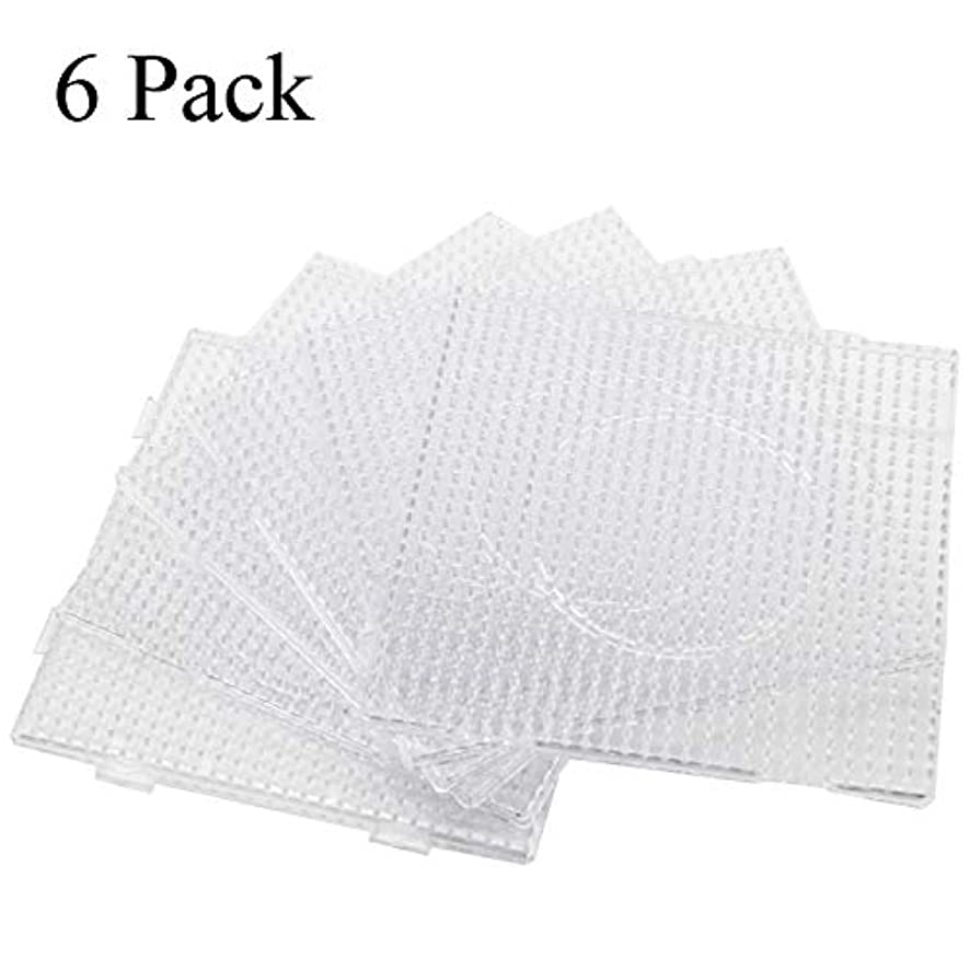 H&W 6PCS 5mm Fuse Beads Boards, Large Clear Pegboards Kits, with Gift 4 Lroning Paper (WA3-Z6)
