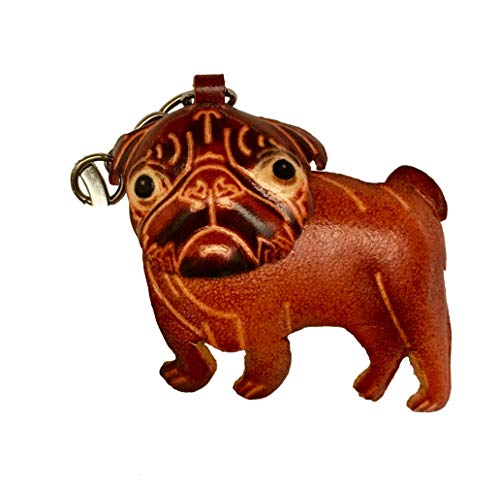 Genuine Leather French Bulldog Shape Keychain, Handcrafted Charm, Ornaments (Brown)