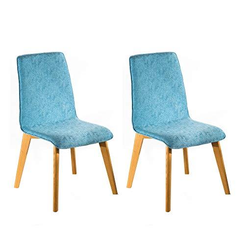 Marchio Amazon -Alkove Hayes - Sedia per tavolo da pranzo, 54 x 61 x 94 cm, quercia silvestre/blu, set da 2