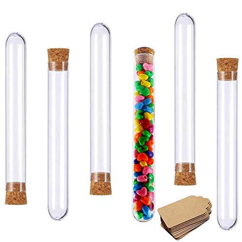 Tube Plastique Transparent 20x150mm Eprouvette Plastique Avec Bouchon 30 ml Tube a Essai pour Laboratoire Bonbons Epice Plante Echantillon Perles