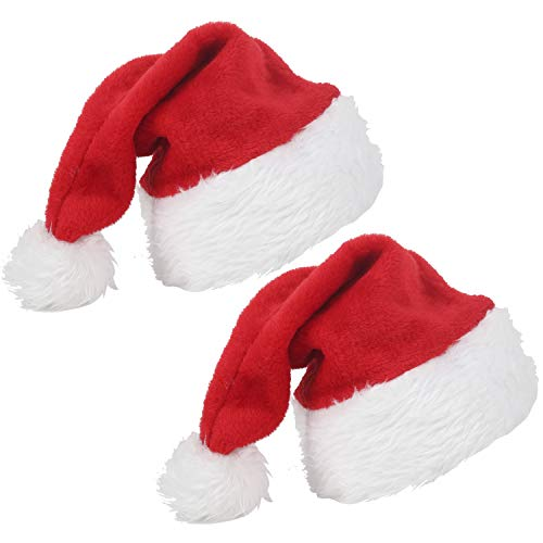 2pcs Christmas Santa Hat for Adults - Red Velvet Christmas Santa Claus Cap Luxury Xmas Hats with Plush Trim Comfort Liner