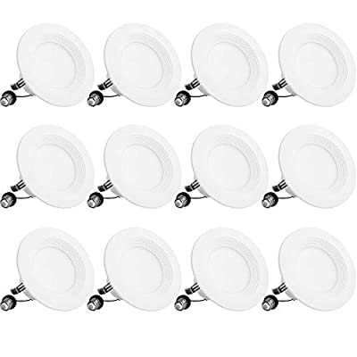 Bbounder Lighting 12 Pack 4 Inch LED Recessed Downlight, Baffle Trim, Dimmable, 9W=70W, 3000K Warm White, 650 LM, Damp Rated, Simple Retrofit Installation - UL + Energy Star No Flicker