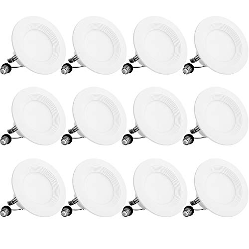 Bbounder Lighting 12 Pack 4 Inch LED Recessed Downlight, Baffle Trim, Dimmable, 9W=70W, 5000K Daylight, 650 LM, Damp Rated, Simple Retrofit Installation - UL No Flicker