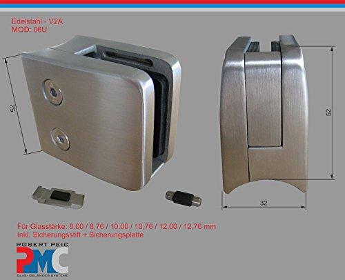 PMC Edelstahl Inox V2A für Rohr 42,4mm Glashalter Glasklemme Glass Clamp + Sicherungsplatte MOD:06U; 8,00 mm