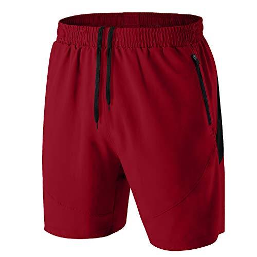 Herren Sport Shorts Kurze Hose Schnell Trocknend Sporthose Leicht mit Reißverschlusstasche(Rot,EU-L/US-M)
