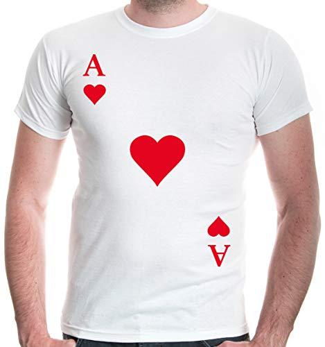 buXsbaum® Herren Unisex Kurzarm T-Shirt Bedruckt Ass-Karte-Herz   Spielkarte Kostüm Kartenspiel   S White-red Weiß