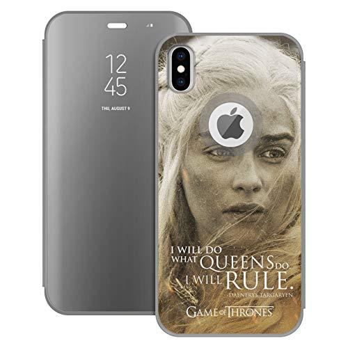 Head Case Designs Offizielle HBO Game of Thrones Daenerys Targaryen Character Portraits Silber Spiegel Huelle mit Klappstand kompatibel mit Apple iPhone XS Max