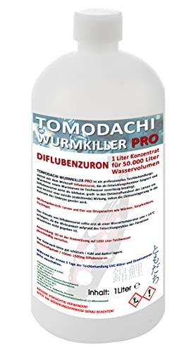 Wurmmittel für Koiteich und Gartenteich, effektives Mittel gegen Karpfenläuse und andere chitinhaltige Ektoparasiten, Tomodachi Wurmkiller Pro, Diflubenzuron, professioneller Entwicklungsinhibator 1000ml Flasche für die Behandlung von 50.000L Teichwasser