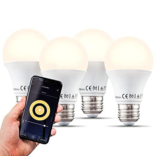 B.K.Licht Lampadine LED smart E27, dimmerabili con App smartphone, luce calda 2700K, adatte al controllo vocale, 4 lampadine Wi-Fi, 9W 806Lm, attacco grande E27